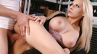 Big-tittied blonde horny boss