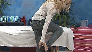 Massaging Alyssa's pussy. No sex
