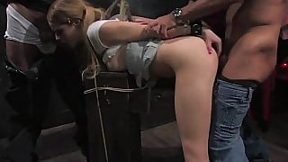 Tied 18 year old teen by 10 old dudes
