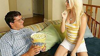 Cock in a bucket of popcorn surprises chicks