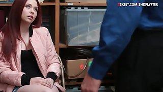 Cute teen shoplifter banged in LP office