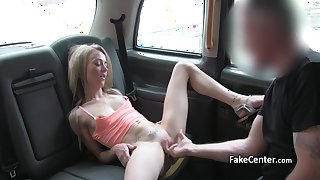 Skinny blonde deep fucked in taxi