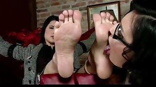 Tied up czech hottie has nylon feet worshipped