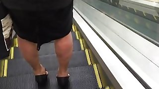 Candid Cougar granny on extreme high heels 1