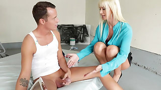 Blonde mom gets working with step son's huge penis