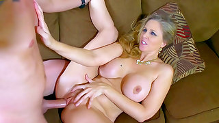 Busty step mom tries some fresh inches into her mature pussy