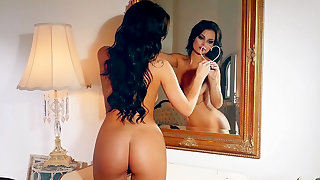 Erotic brunette, nude posing and slow sensuality