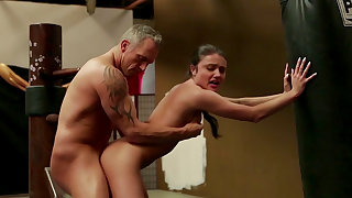 Skinny doll welcomes dick with a fine fuck session