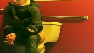 Heavy woman constipated on banio