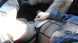 Car Masturbation In Fishnets
